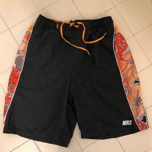 Nike Black and Orange Floral Pattern Bathing Suit